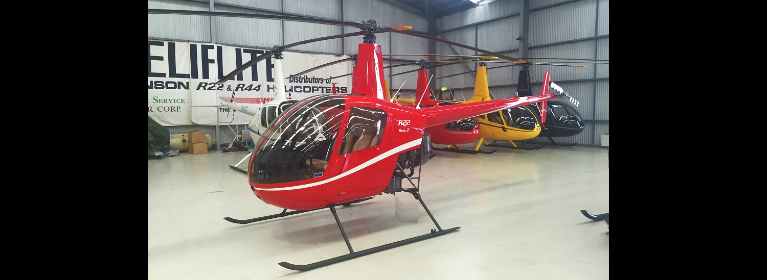 R22 Red with White Stripe   Leaders in Helicopter Sales and Service - Heliflite