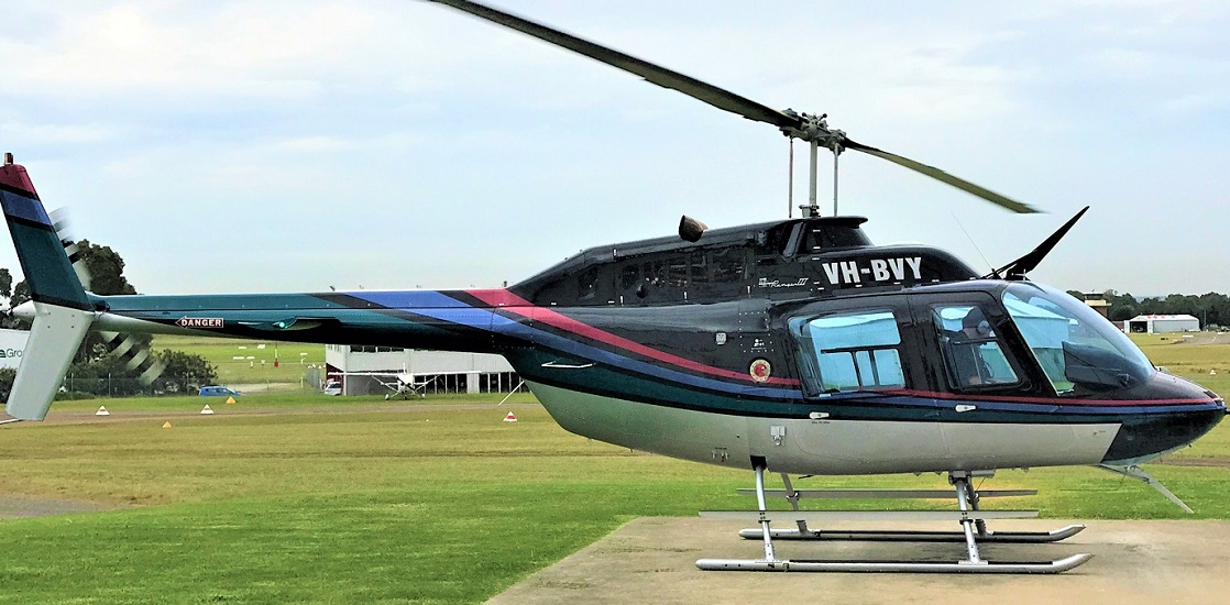 Bell Jetranger Black Blue Red 1118 x 550   Leaders in Helicopter Sales and Service - Heliflite