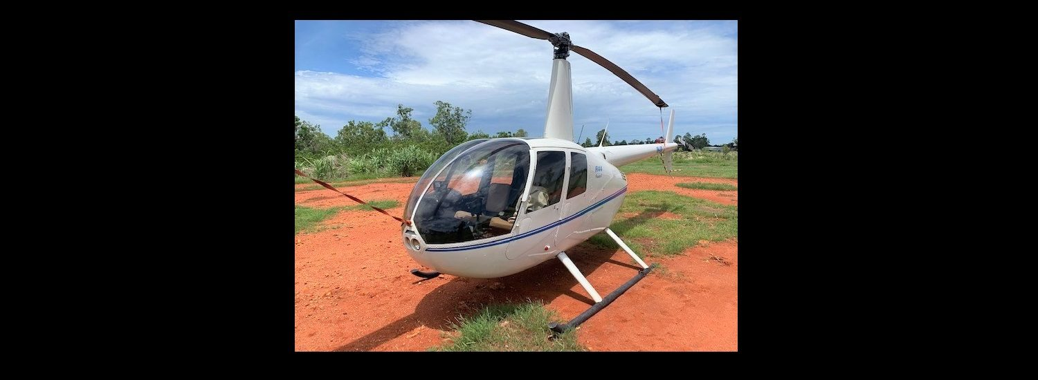 R44 White with Blue Trim OH 1500 x 550 | Leaders in Helicopter Sales and Service - Heliflite